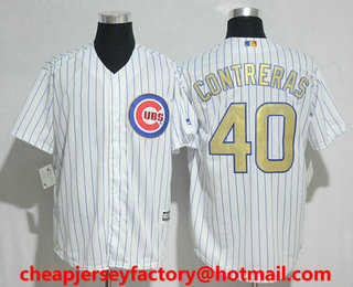 d10e9ac21 Men s Chicago Cubs  40 Willson Contreras White World Series Champions Gold  Stitched MLB 2017 Cool