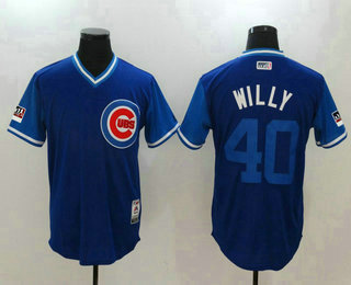 a95d283425d Men s Chicago Cubs  40 Willson Contreras Willy Majestic Royal-Light Blue  2018 Players