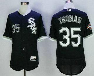 99f43c52d4f Men s Chicago White Sox  35 Frank Thomas Retired Black 2016 Flexbase  Baseball Jersey w2005 World