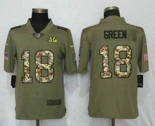 a7d4598a2a4 Men's Cincinnati Bengals #18 A.J. Green Olive With Camo 2017 Salute To  Service Stitched NFL