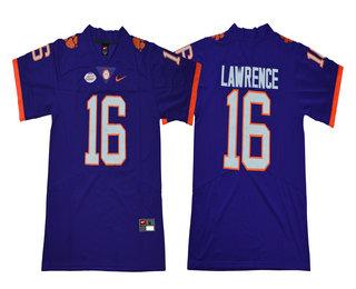 Men s Clemson Tigers  16 Trevor Lawrence Purple Stitched NCAA Nike 2018  College Football Jersey 8d9fcffa6
