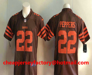 bf9ced898 Men s Cleveland Browns  22 Jabrill Peppers Brown 2016 Color Rush Stitched NFL  Nike Limited Jersey
