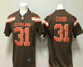 391ace5f1 Men s Cleveland Browns  31 Nick Chubb Brown Team Color 2018 Vapor  Untouchable Stitched NFL Nike