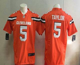 a41f3dca Men's Cleveland Browns #5 Tyrod Taylor Orange Alternate Stitched NFL Nike  Game Jersey