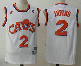 da82ed9d7 Mens Cleveland Cavaliers 2 Kyrie Irving CavFanatic White Hardwood Classics  Soul Swingman Throwback ...