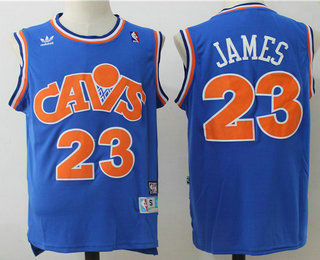7fbb443e305 ... Mens Cleveland Cavaliers 23 LeBron James CavFanatic Blue Hardwood  Classics Soul Swingman Throwback Jersey ...