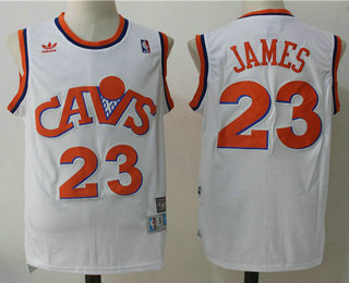 9096af90808 ... Mens Cleveland Cavaliers 23 LeBron James CavFanatic White Hardwood  Classics Soul Swingman Throwback Jersey ...