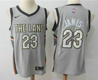 a2cb4034d0f2 Men's Cleveland Cavaliers #23 LeBron James Grey 2017-18 Nike City Edition  Swingman Jersey