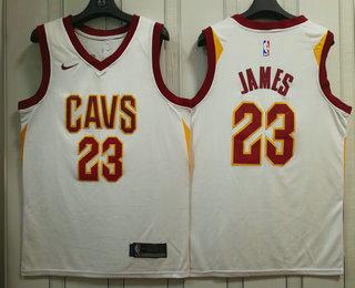 2977f9252b55 Men s Cleveland Cavaliers  23 LeBron James White 2017-2018 Nike Swingman  Stitched NBA Jersey