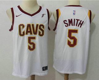 f520b5c8760a8a Men's Cleveland Cavaliers #5 J.R. Smith White 2017-2018 Nike Swingman  Goodyear Stitched NBA
