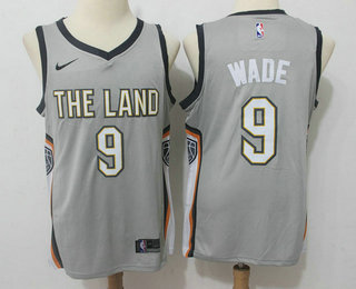 dc153d680 Men s Cleveland Cavaliers  9 Dwyane Wade Grey 2017-18 Nike City Edition  Swingman Jersey