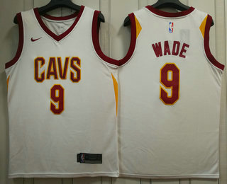 f43333f9b Men s Cleveland Cavaliers  9 Dwyane Wade White 2017-2018 Nike Swingman  Stitched NBA Jersey
