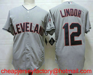 1de7620ae ... mens cleveland indians 12 francisco lindor gray road stitched mlb cool base  jersey