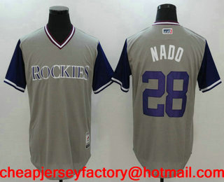 2bd451ec8 Men s Colorado Rockies Nolan Arenado  28 Nado Gray 2017 Little League World  Series Players Weekend