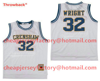 c915432f3 Men s Crenshaw High School  32 Monica Wright White Soul Swingman Stitched  Basketball Jersey