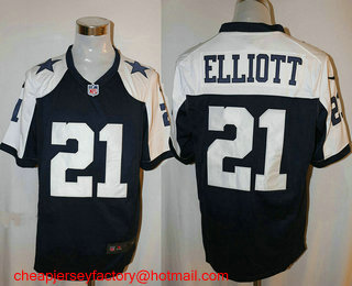1d6d33362472 Men s Dallas Cowboys  21 Ezekiel Elliott Navy Blue Thanksgiving Alternate NFL  Nike Game Jersey