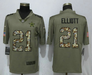 a3edc4e01a9 ... Nike Limited Jersey $ 21.5. Men's Dallas Cowboys #21 Ezekiel Elliott  Olive With Camo 2017 Salute To Service Stitched NFL