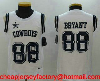 Men s Dallas Cowboys  88 Dez Bryant White Color Rush 2017 Vest Stitched NFL  Nike Tank 8621e365f