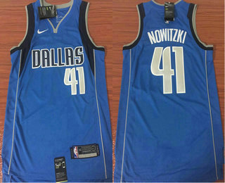 3b9a78d2c Men s Dallas Mavericks  41 Dirk Nowitzki Light Blue 2017-2018 Nike Icon  Edition Swingman