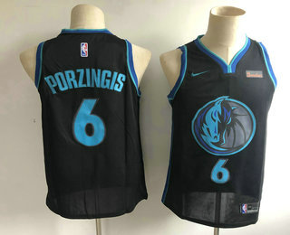 ce1e1fd6c Men s Dallas Mavericks  6 Kristaps Porzingis New Black 2019 City Edition NBA  Swingman 5miles Stitched