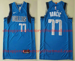 on sale c0119 8f63c Men's Dallas Mavericks #77 Luka Doncic Light Blue 2017-2018 ...