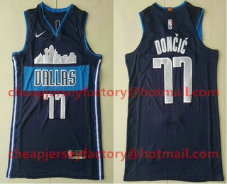 34d29ebd294 Men s Dallas Mavericks  77 Luka Doncic Navy Blue 2017-2018 Nike Authentic  Stitched NBA Jersey