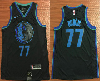 new concept f3c15 9ea03 Men's Dallas Mavericks #77 Luka Doncic New Navy Blue 2019 ...