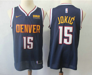 da8c90f678d7 Men s Denver Nuggets  15 Nikola Jokic New Navy Blue 2019 Nike Swingman  Western Union Stitched