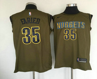 Men s Denver Nuggets  35 Kenneth Faried Olive Stitched Nike Swingman Jersey c48d02ddb