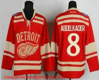Men s Detroit Red Wings  8 Justin Abdelkader 2014 Winter Classic Red  Stitched NHL Reebok Hockey fc7b4dbb5