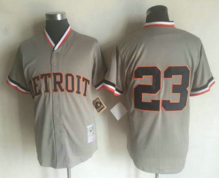mens detroit tigers 23 kirk gibson gray button throwback cooperstown collection stitched mlb mitchel
