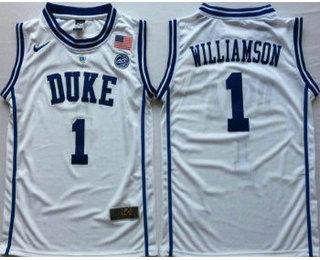 8dc9958fa55 Men s Duke Blue Devils  1 Zion Williamson White Nike College Basketball  Jersey