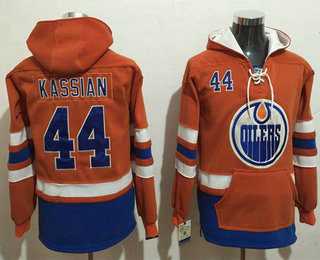 Men s Edmonton Oilers  44 Zack Kassian Orange Name   Number Pullover NHL  Hoodie b9d47e181