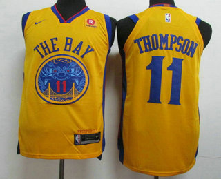 abec7f1b91e9 Men s Golden State Warriors  11 Klay Thompson Gold 2017-18 Nike City Edition  Authentic Jersey