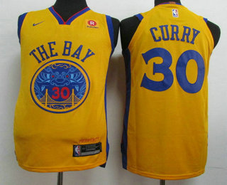 Men's Golden State Warriors #30 Stephen Curry Gold 2017-18 Nike City  Edition Authentic Jersey