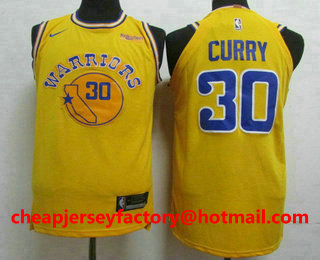 c2b7db6a7 Men s Golden State Warriors  30 Stephen Curry New Yellow 2019 Nike  Authentic Rakuten Stitched NBA