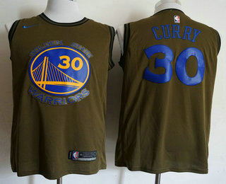 e6f86e311ef Men's Golden State Warriors #30 Stephen Curry Olive Stitched Nike Swingman  Jersey