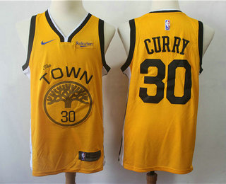 0655af1f2 Men s Golden State Warriors  30 Stephen Curry Yellow Nike Swingman 2018  playoffs Earned Edition Stitched
