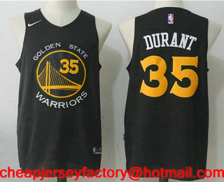 e471d51d3 Men s Golden State Warriors  35 Kevin Durant All Black 2017-2018 Nike  Swingman Stitched