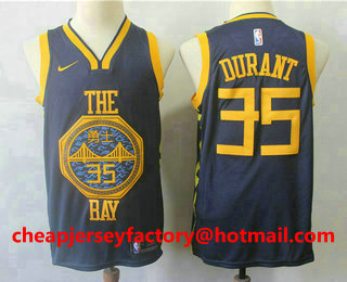 156f117827d932 Men s Golden State Warriors  35 Kevin Durant New Navy Blue 2019 City  Edition NBA Swingman Jersey