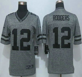 ... Mens Green Bay Packers 12 Aaron Rodgers Nike Gray Gridiron 2015 NFL Gray  Limited Jersey ... 626446ed8