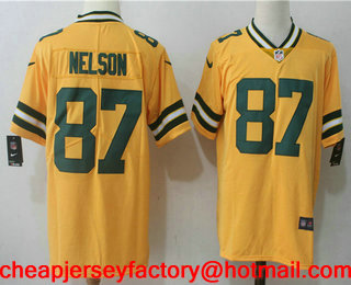 new products 2f58e d51a9 Men's Green Bay Packers #87 Jordy Nelson Gold 2017 Color ...