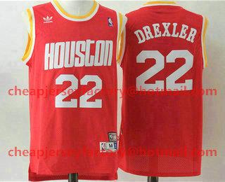 69b0e6dbba0 Men's Houston Rockets #22 Clyde Drexler Hardwood Classic Swingman Throwback Red  Jersey