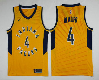8e73d537b Men s Indiana Pacers  4 Victor Oladipo New Yellow 2017-2018 Nike Swingman  Stitched NBA Jersey