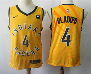 san francisco 9cb33 82f25 Men's Indiana Pacers #4 Victor Oladipo New Yellow 2018 Nike ...