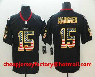 a26077bc57800 ... Nike Limited Jersey $ 21.5. Men's Kansas City Chiefs #15 Patrick  Mahomes II 2018 USA Flag Fashion Black Color Rush