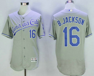 44893de96 Men s Kansas City Royals  16 Bo Jackson Retired Gray Road 2016 Flexbase  Baseball Jersey