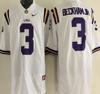 f662ad519 Men's LSU Tigers #3 Odell Beckham Jr. White 2015 College Football Nike  Limited Jersey