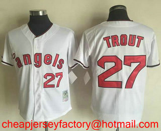 dd19e3a281d Men s Los Angeles Angels Of Anaheim  27 Mike Trout White 1970 Throwback  Cooperstown Collection Stitched