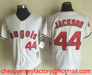 37780759 Men's Los Angeles Angels of Anaheim #44 Reggie Jackson White 1970 Throwback  Cooperstown Collection Stitched